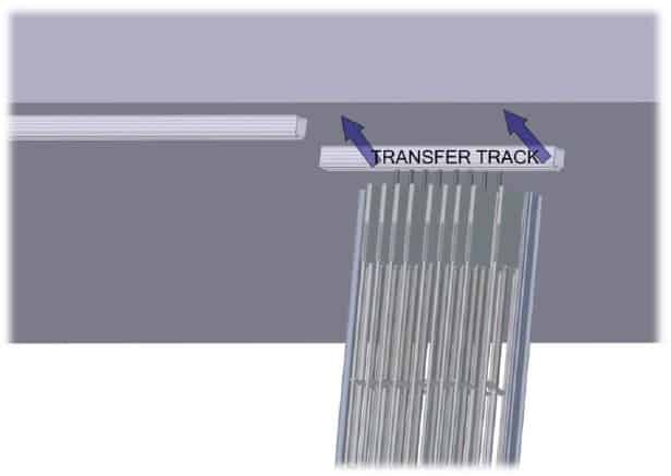 Aligning transfer track with ceiling track
