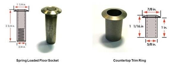 floor socket and countertop trim ring