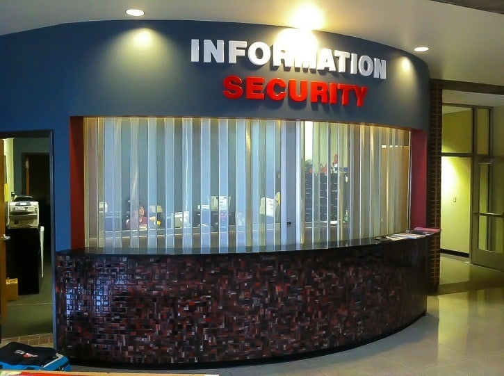 Kiosk side folding security door