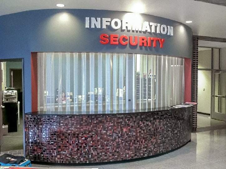 security kiosk perforated grille